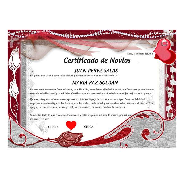 Detalles con Amor Certificado de Noviazgo #002 Rosas naturales