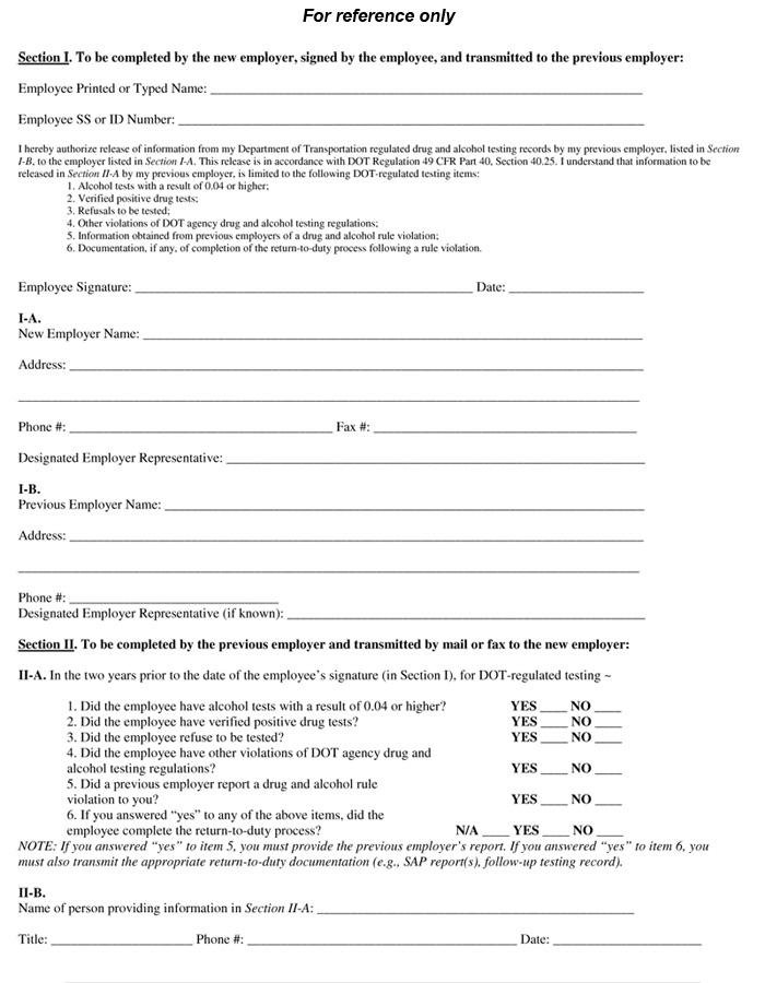 dot previous employment verification form - Erkaljonathandedecker