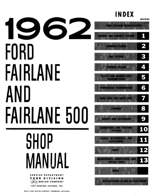 1962-1964 Ford Fairlane Shop Manual in Paper Format Detroit Iron