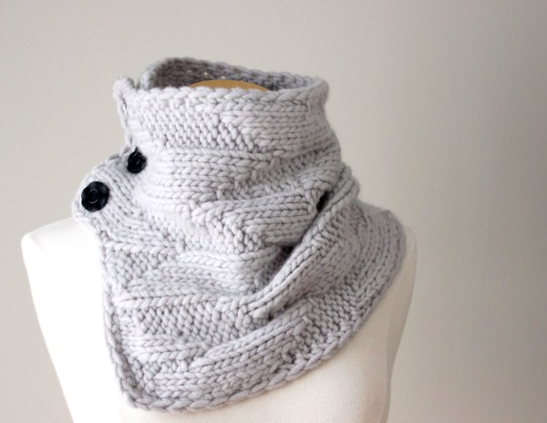 Knitting Pattern Geometric Cowl Deux Brins de Maille1