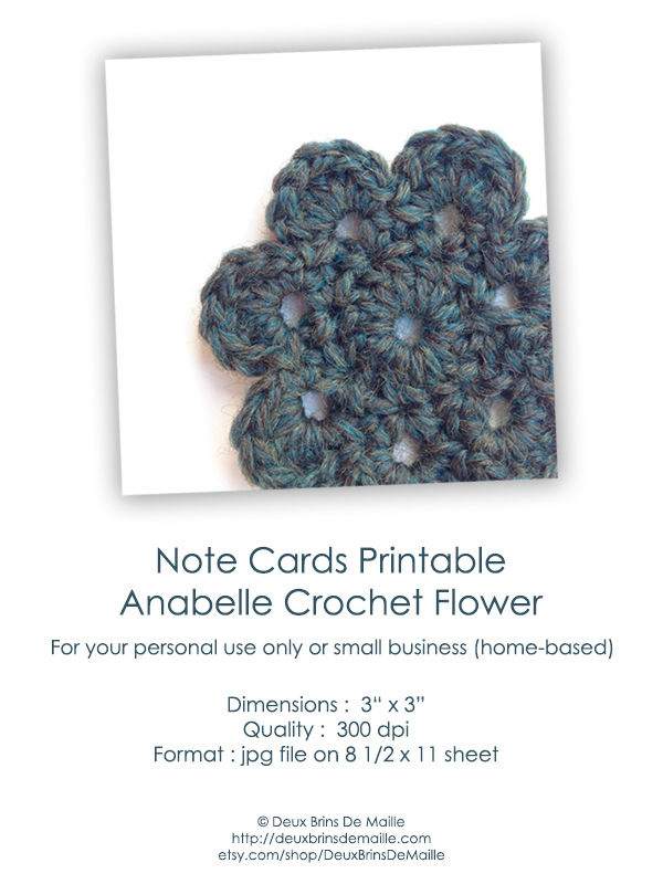 Free Printable Note Cards - Anabelle Crochet Flower