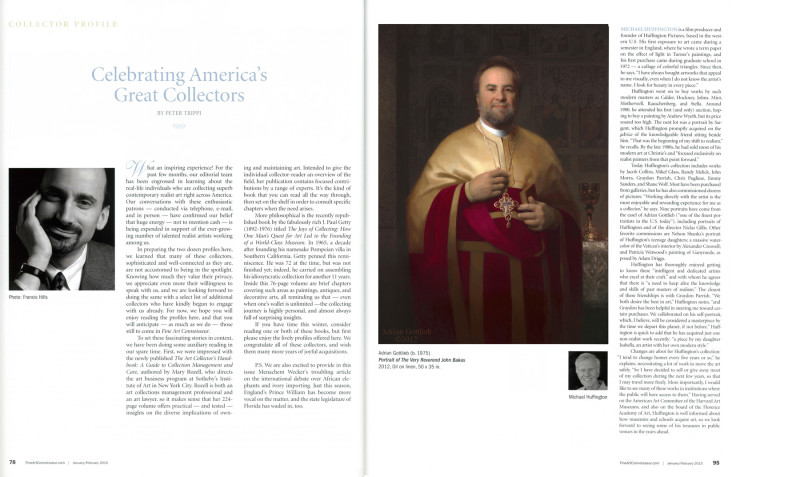"""Celebrating America's Great Gollectors"",  by Peter Trippi, Fine Art Connoisseur Magazine, February 2015"