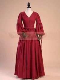Medieval Lamp Sleeves V-neck Retro Wine Red Gown by Lace ...