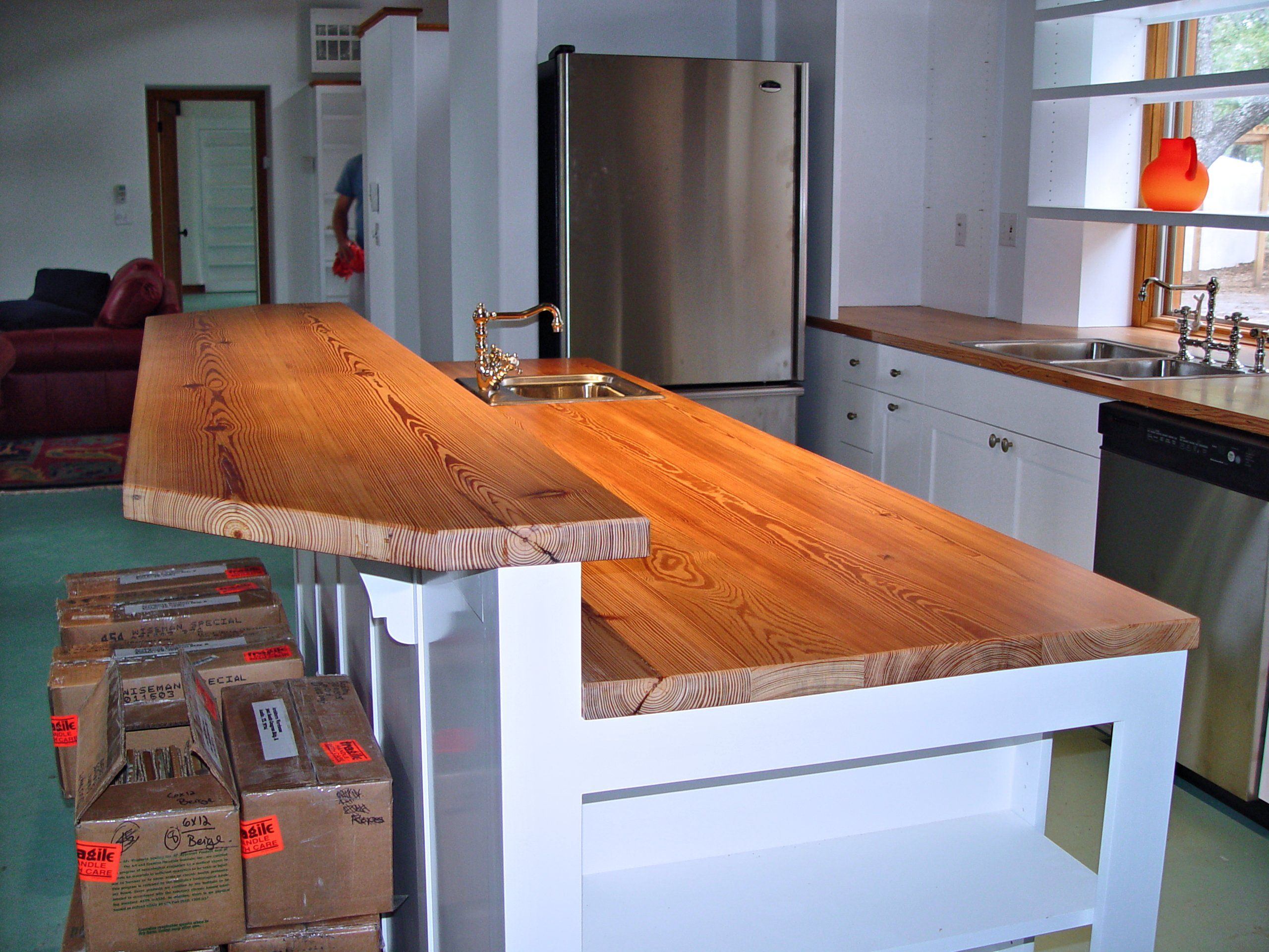 reclaimed longleaf wood countertop photos bar top kitchen tables Reclaimed Longleaf Pine face grain custom wood counter top and bar top