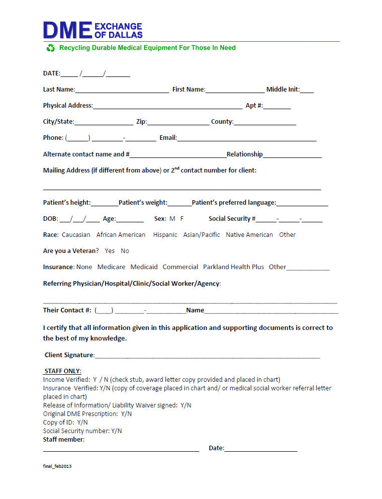 Patient Application Forms DFW DME Exchange of Dallas, Inc - application forms