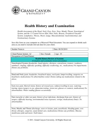 Example of nursing health history Research paper Academic Writing - complete health history example
