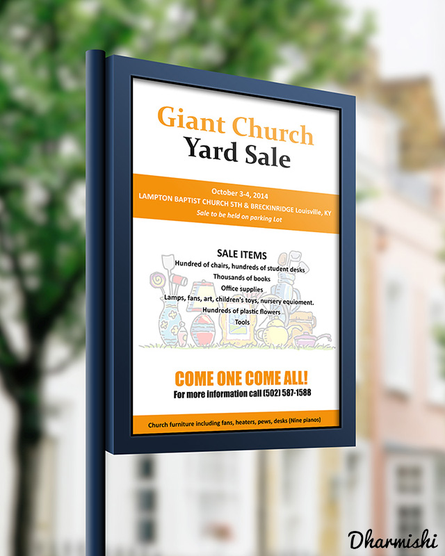 Giant Church Yard Sale Flyer Design in Kanpur Dharmishi Technologies