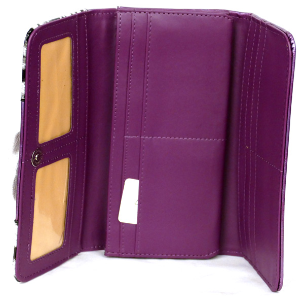 Leopard tri-folder Purple Flower Wallet