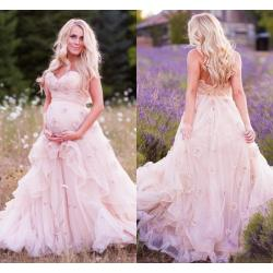 Nice 2016 New Maternity A Line Wedding Dresses Sweeart Handmade Flowersruffles Pink Tulle Corset Summer Garden Discount 2016 New Maternity A Line Wedding Dresses Sweeart wedding dress Pink Wedding Dress