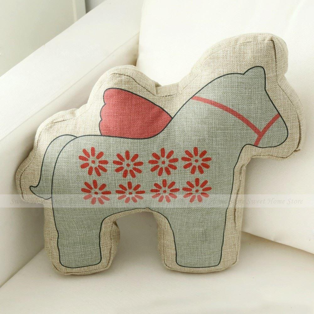 Lovely cartoon daisy pattern animal horse shaped throw pillow children s christmas gifts cushion toy