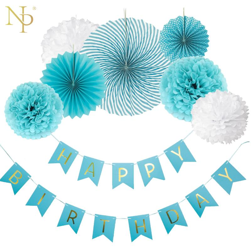 Nicro DIY Boy Blue Birthday Banner Flower Paper Fan Set Tissue