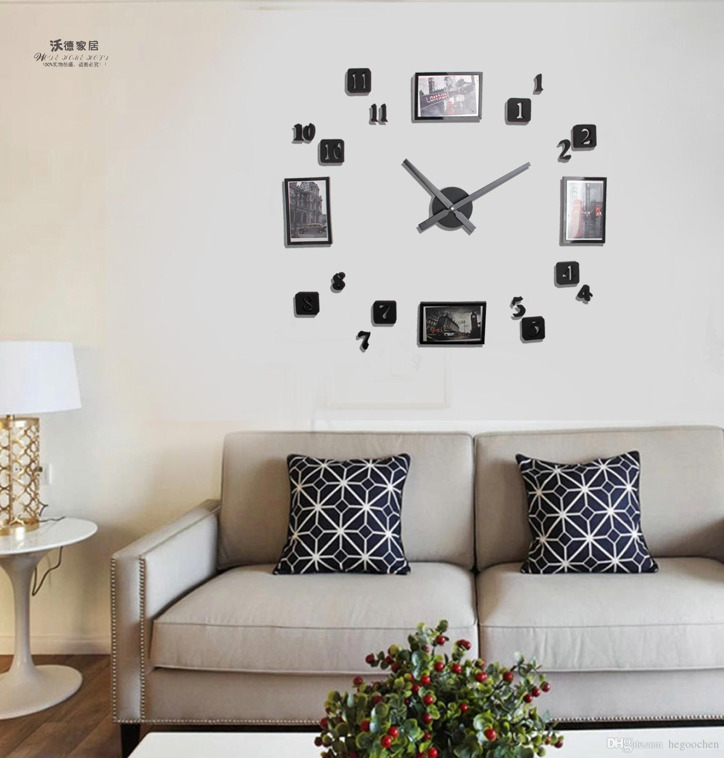 Charming 2018 New Design European Style Photo Frame Diy Digital Black Clock Fashion Personality Bedroom Living 2018 New Design European Style Photo Frame Diy Digital Black Clock furniture Digital Clock For Living Room