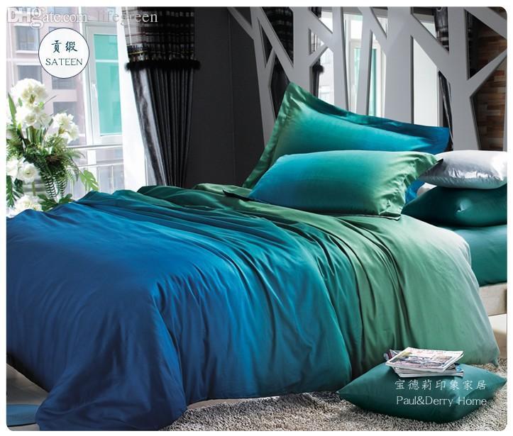 Wholesale Blue Green Gradient Bedding Sets Queen King Size Quilt