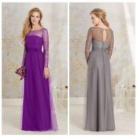 Grey Long Sleeves Bridesmaid Dresses Tulle Sheer Neckline ...