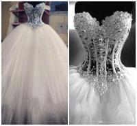 Luxurious Bling Vestido De Noiva Corset Bodice Sheer Ball ...