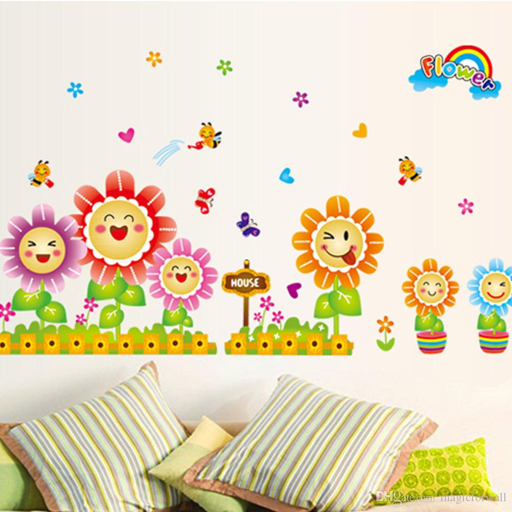 Baby Girl Nursery Removable Wallpaper Cute Spring Wall Decor Stickers For Kids Room Amp Nursery