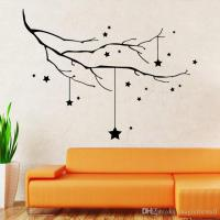 Home Decor Black STAR AND TREE BRANCH WALL DECAL STICKER ...