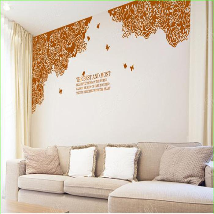 Large Flower Wall Decals Tv Background Rose Wall Sticker Home - large wall decals for living room