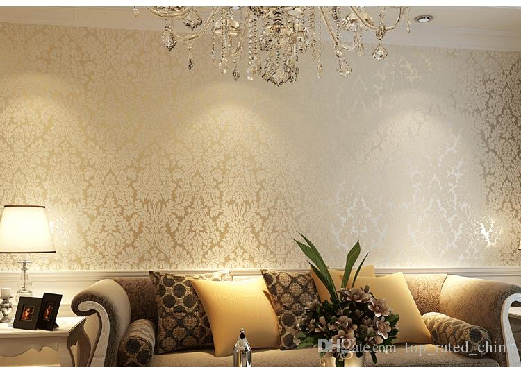 3d Effect Wallpaper For Living Room European Vintage Luxury Non Woven Damask Wallpapers