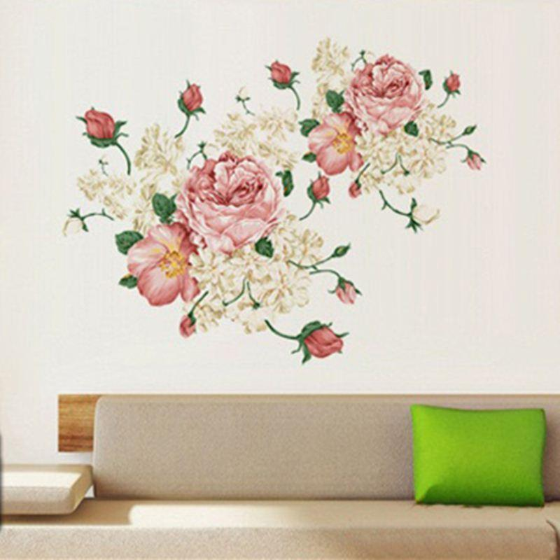 Large Pink Peony Large Vinyl Wall Stickers Bedroom Living Room - large wall decals for living room