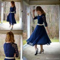 Tea Length Dresses 2016 Vintage Lace Navy Blue Bridesmaid ...