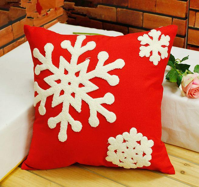 Embroidered Christmas Pillow Cushion Covers Decorative Throw - decorative christmas pillows