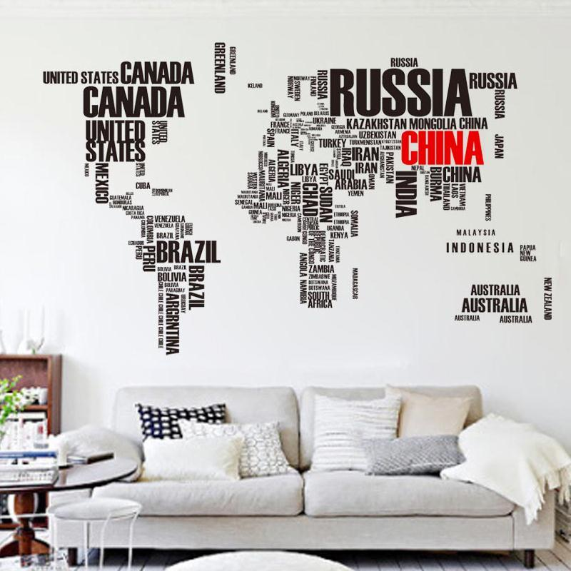 Creative Alphabetical Large World Map Wall Sticker Living Room - large wall decals for living room