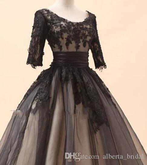 Amazing black lace long sleeves short dress with very