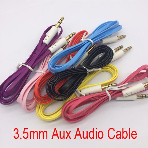 35mm Aux Audio Cable Cord Colors Noodle Wires Male to Male Audio