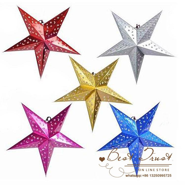 Handmade Hanging Decorations Christmas Star Golden Star Paper - christmas star decorations