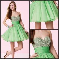 Short Lime Green Prom Dresses - Black Prom Dresses