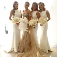 2016 Bateau Mermaid Long Bridesmaid Dresses Pick-up Sweep ...