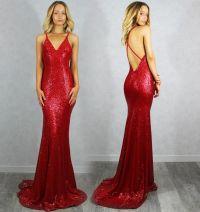 Chic 2016 Red Mermaid Prom Dresses V Neck Criss Cross ...