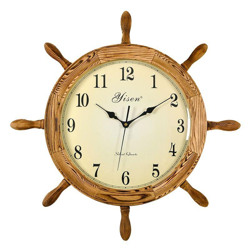 Chinese Living Room Wood Wall Clock Mute Creative Modern - living room clock