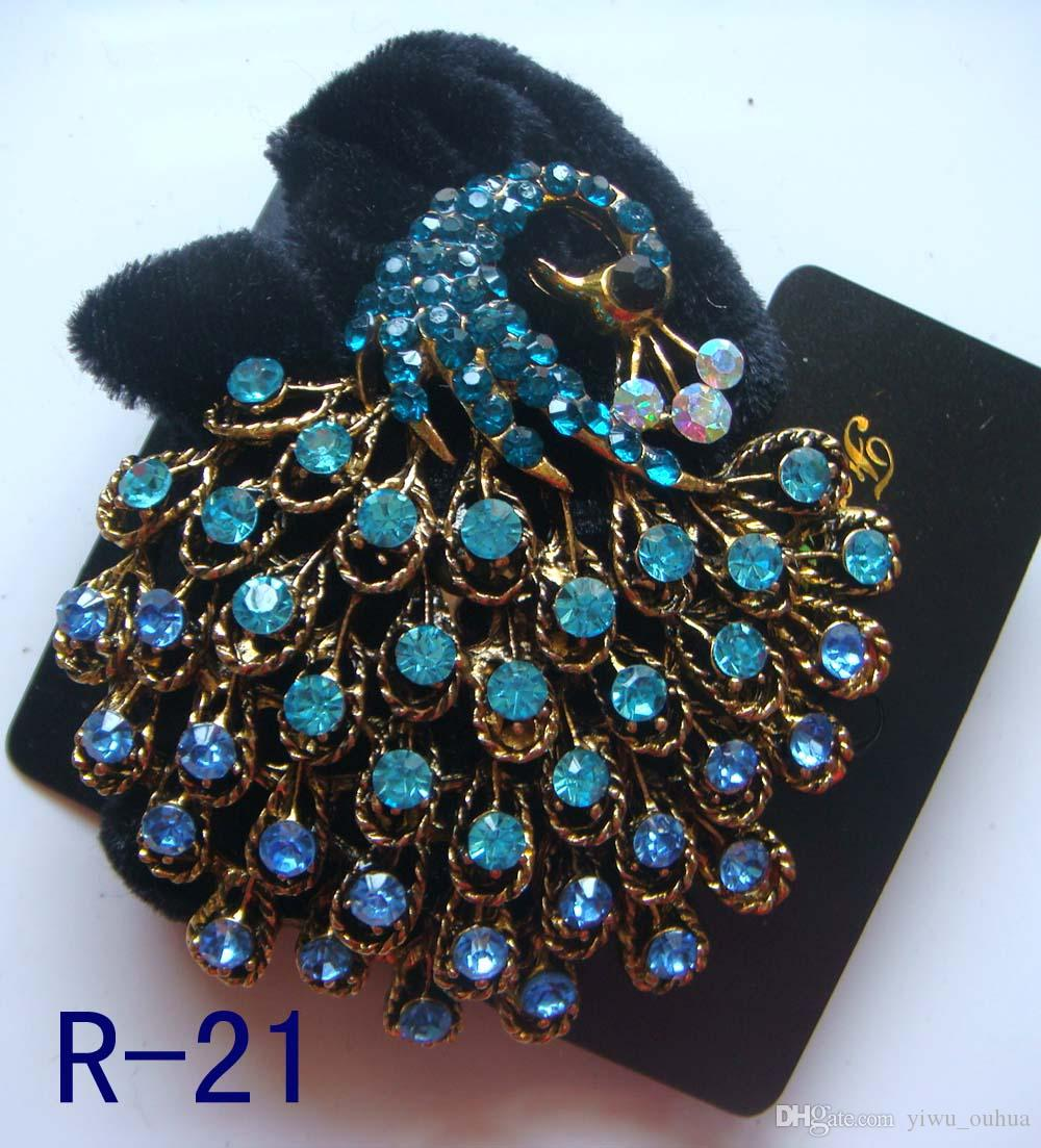 Wholesale vintage hair jewelry pony tails holder rhinestone headbands hair accessories free shipping 12pcs lot mixed