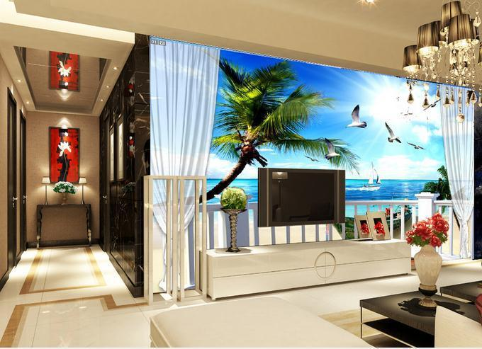 Customize Wallpaper 3D Living Room TV Backdrop Scenery Balcony Sea - 3d wallpaper for living room
