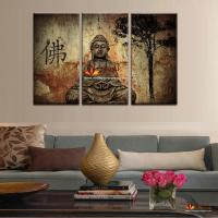 2018 Hot Sell 3 Panel Large Buddha Painting Canvas Wall ...