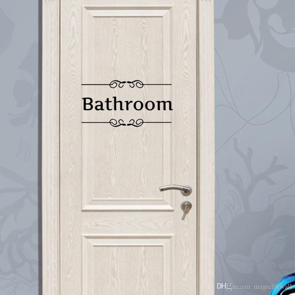 Toilet Bathroom Wall Art Murals Sticker Wc Door Decoration