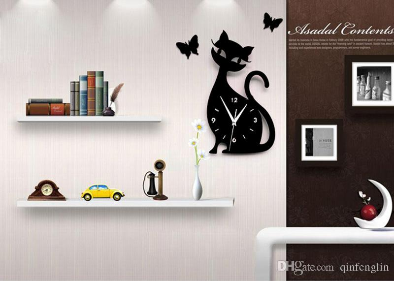 Modern Design Living Room Children Cute Kitten Black Cat Wall - living room clock