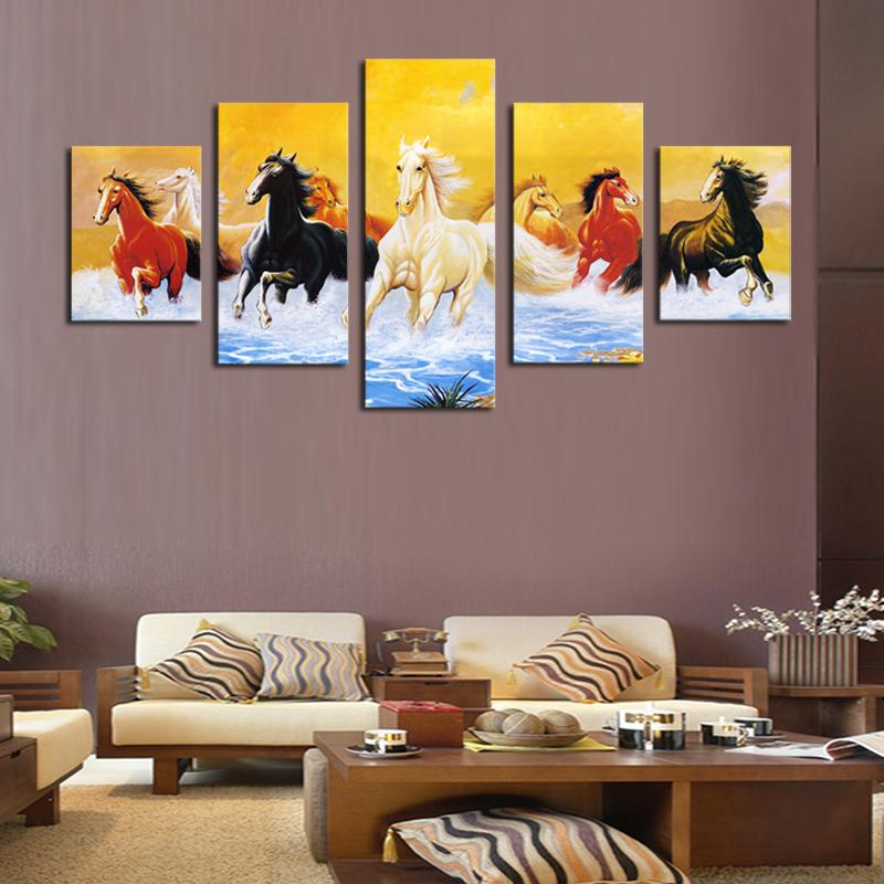 2017 5 Panel Living Room Decor Horses Painting Colorful Horse - living room canvas art