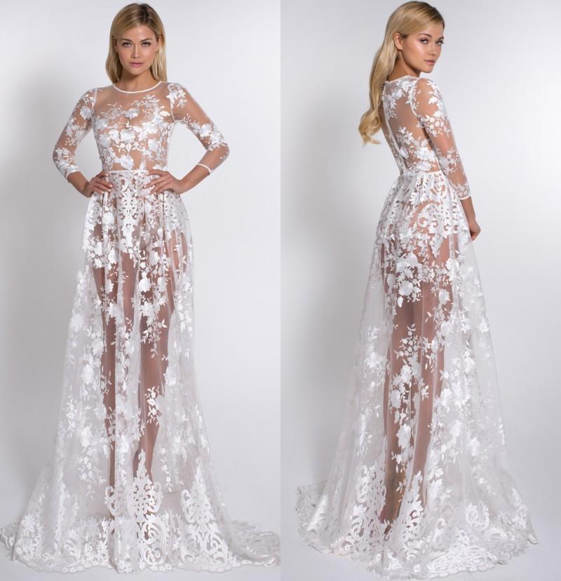 Elegant Lace Prom Dresses Sheer Skirt Backless 3/4 Long Sleeve