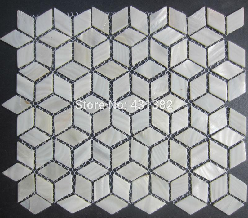 Cheap 3d Wallpaper Rhombus Shell Mosaic Tiles 42 24 Naural Pure White Mother