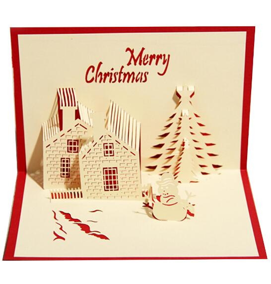 3D Three Dimensional Greeting Card Business Blessing Christmas