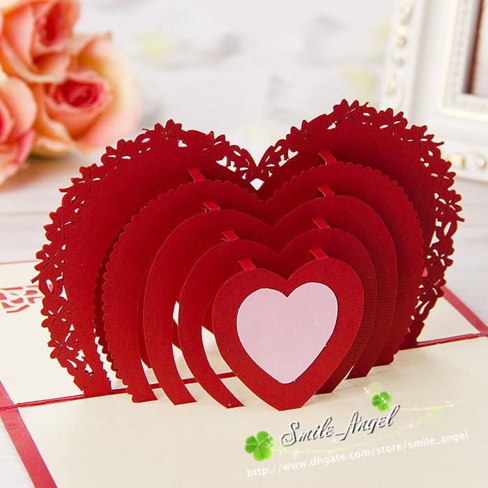Wedding Greeting Cards Red Heart Design 3d Pop Up Gift Crads - online greeting card designer