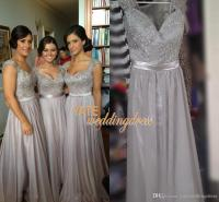 On Sale! Silver Chiffon Lace Bridesmaid Dresses Cap Sleeve ...