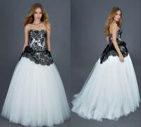 Discount 2016 Designer Black And White Wedding Gown ...