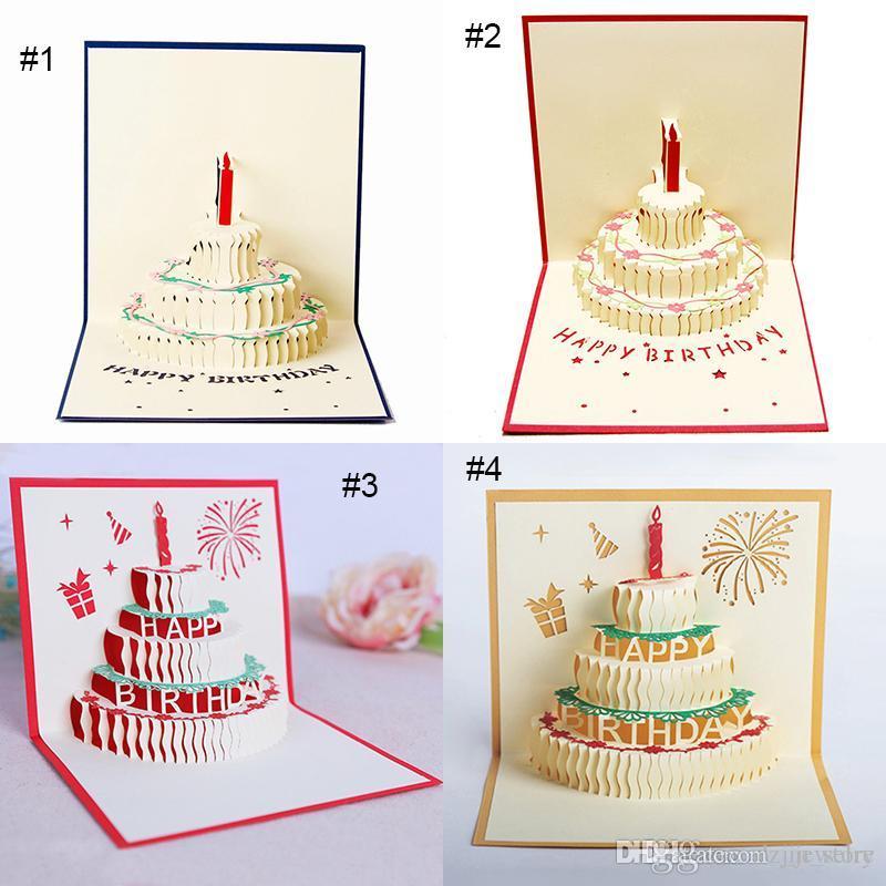 Compre Cartão 3D Bolo De Aniversário 3D Pop Up Cartões De Bênção