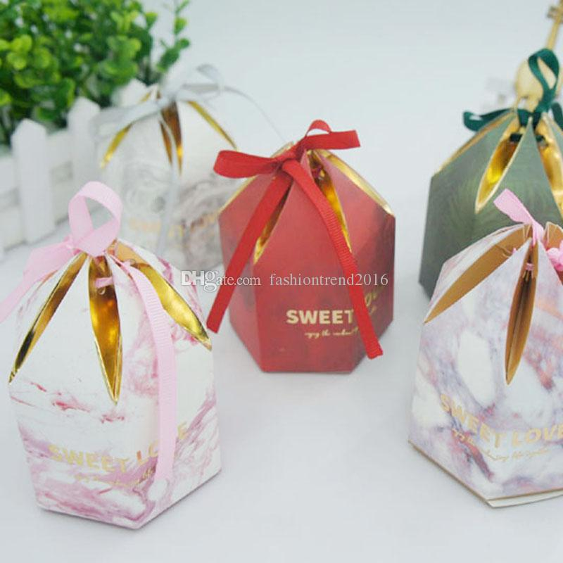 Hexagon Colorful Candy Box With Ribbon Chocolate Sweets Package Case