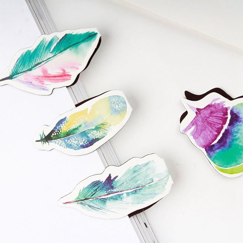 Colorful Feather Magnet Bookmark Paper Clip School Office Supply