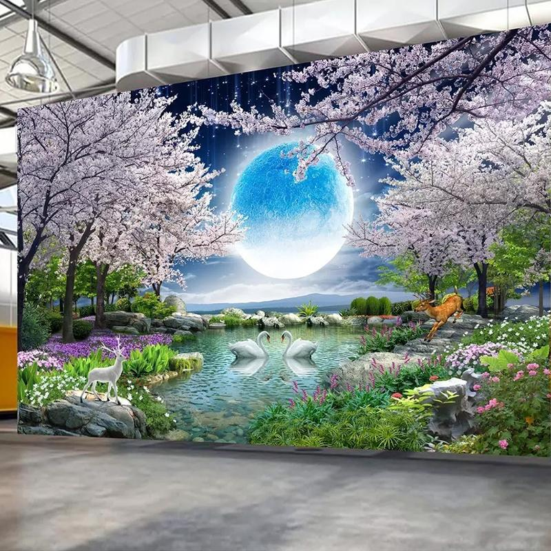 Custom Mural Wall Paper Moon Cherry Blossom Tree Nature Landscape